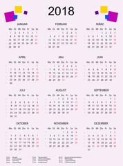 Kalender 2018 mit bunten Quadraten