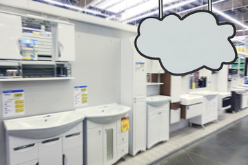 Bathroom furniture store. Defocused image. Place for your text.