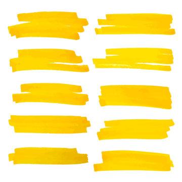 Vector highlighter brush lines. Marker pen highlight underline strokes. Yellow watercolor hand drawn highlight set.