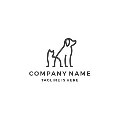 minimalist monoline lineart outline dog cat icon logo template vector illustration