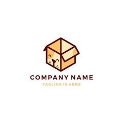 cute dog box cube pet subscription icon logo template vector illustration