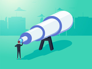 Vision concept in business with vector icon of businessman and telescope, monocular. See the big picture.