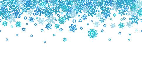 Seamless border snowflakes isolated on white background. Site header.