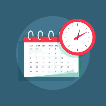 Vector calendar and clock icon. Schedule, appointment, important date concept. Modern flat design illustration