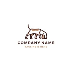 walking dog smells vector logo template