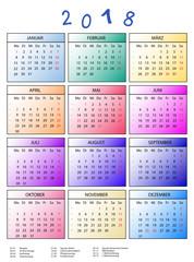 bunter Jahreskalender 2018 mit Feiertagen