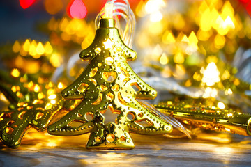Christmas holidays composition on gold background with copy space for your text