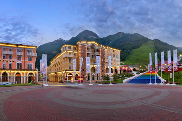 Fototapete - Panorama of Sberbank Square in the Evening, Gorky Gorod, Sochi, Russia
