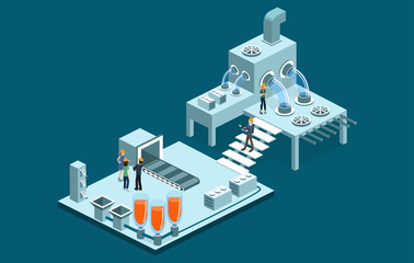 Isometric 3D vector illustration research laboratory with chemicals and scientist
