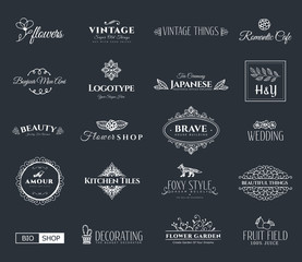 Collection of templates. Flourishes calligraphic ornaments and frames. Retro style of design elements, postcard, banners, logos. Vector template