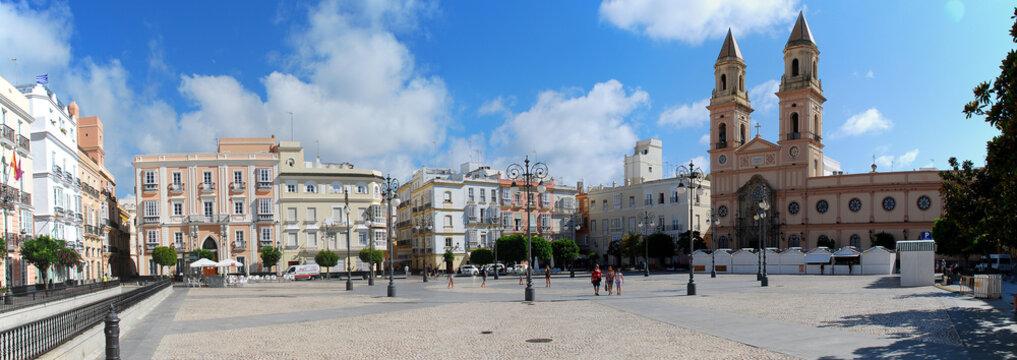 Panorama view of the Plaza San Antonio, Cadiz, Spain