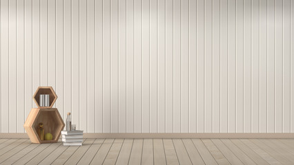 Interior room,3D rendering,living room white color,empty wall