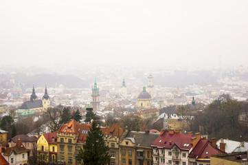 City in fog