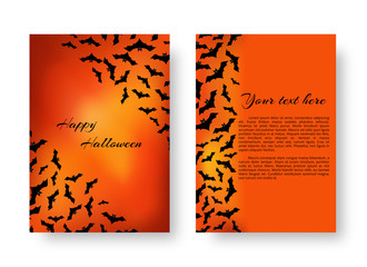 Scary background template with bats for festive decoration of congratulations for Halloween on the orange backdrop. Vector illustration.