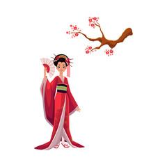 Geisha in kimono and blooming cherry tree, sakura branch, symbols of Japanese culture, cartoon vector illustration on white background. Beautiful Japanese geisha in kimono and branch of pink sakura