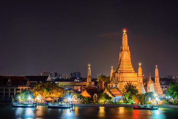 Arun temple (Wat Arun), famous tourist attraction in night time,Bangkok Thailand.