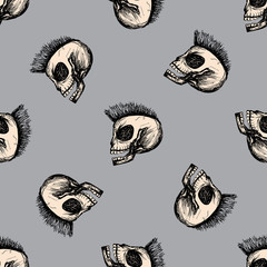 Punk skull seamless pattern,hand drawn