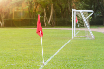 green soccer field showing red corner flag and goal