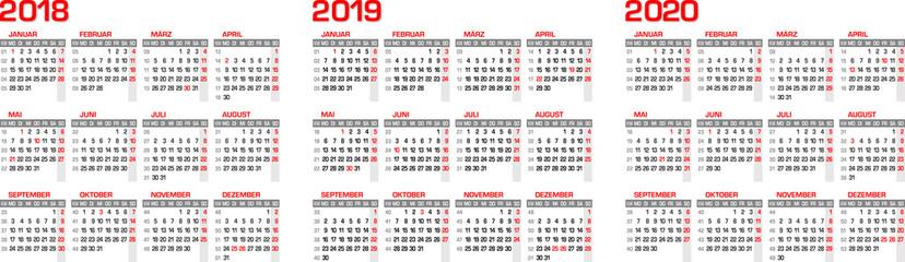 Kalender/Kalendarium für 2018 - 2019 - 2020  mit Feiertagen in Deutschland