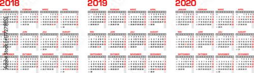 kalender kalendarium f r 2018 2019 2020 mit feiertagen in deutschland stock image and. Black Bedroom Furniture Sets. Home Design Ideas