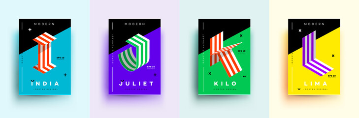 Modern Typographic Colorful Covers. Isometric Letters I, J, K, L With Abstract Memphis Design Background. Vector Trendy Template For Your Posters, Banners, Presentations, Layouts