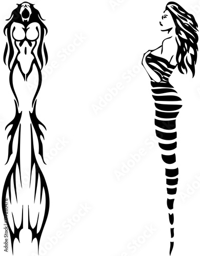 Tribal tattoo designs 12 female silhouette stock image for Female silhouette tattoo