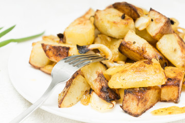 Plate of the potatoes with some seasonings