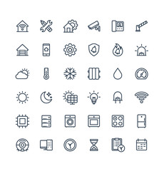 Vector thin line icons set, graphic design elements. Illustration with home, smart house, outline symbols. Robot vacuum cleaner, oven, device, security, wireless remote control system linear pictogram