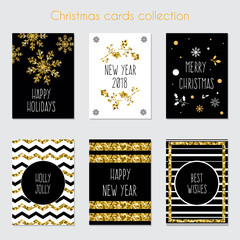 Christmas greeting cards. Handwritten calligraphy and decorative elements. Xmas cards with gold glitter texture