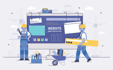 Two cartoon builders holding and carrying repair tools against computer screen on background. Concept of website under construction, web page maintenance or error 404. Colorful vector illustration. Wall mural
