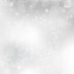Silver winter background with snowflakes