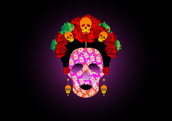 day of the dead, portrait of Mexican Catrina with skulls and red flowers , inspiration Santa Muerte in Mexico and la Calavera , vector illustration isolated or black background