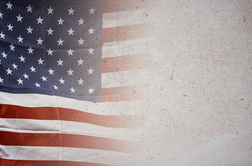 American flag on stone  background, USA flag
