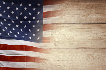 American flag on wooden background, USA flag
