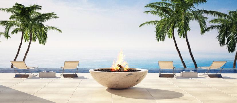 Luxury open air deck in a tropical villa