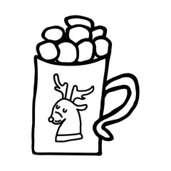 Christmas cup with cocoa and marshmallow. Food icon. Traditional christmas food and desserts for Santa. Vector illustration.