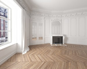Interior of an empty elegant room with white walls