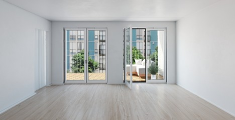 Spacious unfurnished room with large windows