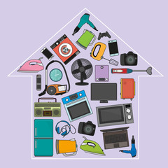 vector set of home appliances in the form of a silhouette of a house