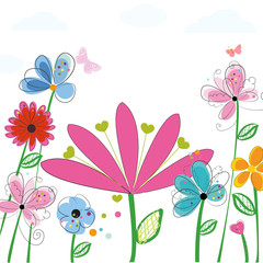 Spring flowers. Colorful cute Spring time floral background