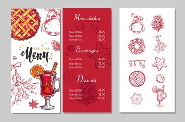 Christmas winter menu for restaurants and cafes. Vector template with hand drawn illustrations and brushpen Lettering. Christmas party invitation. Isolated christmas icons