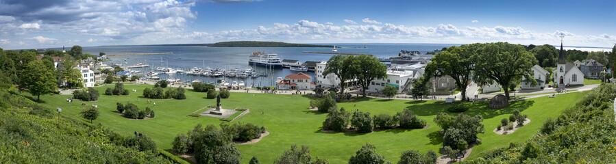 Beautiful Panoramic Scene of Mackinac Island Michigan and State Harbor Marina