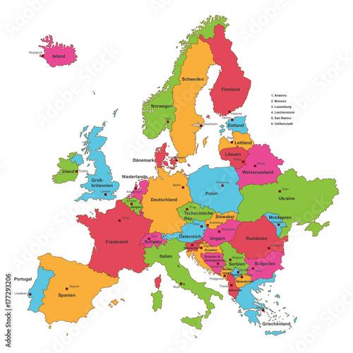 europakarte beschriftet Europakarte in Grenzen mit Beschriftung