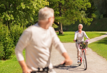 happy senior couple riding bicycles at summer park