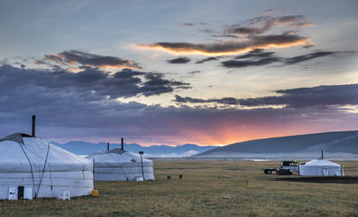 mongolian gers in a landscape
