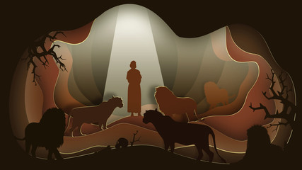 Daniel in the Lion's Den. Paper art. Abstract, illustration, minimalism. Wall mural