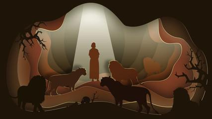 Daniel in the Lion's Den. Paper art. Abstract, illustration, minimalism. Fotomurales