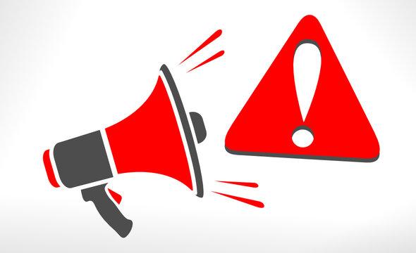 danger attention bannière mégaphone