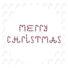 Merry Christmas. Candy text. Vector illustration. Trendy design of holiday candy cane text. Merry Christmas text on grey background. Design for holiday cards. White background. Candy cane pattern.