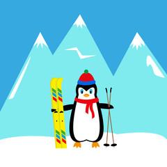 cartoon penguin skier